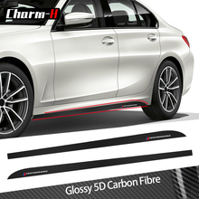 2Pieces Car Styling New M Performance 5D Carbon Fibre Side Skirt Sill Racing Stripes Decal Sticker for BMW G20 3 Series 2019