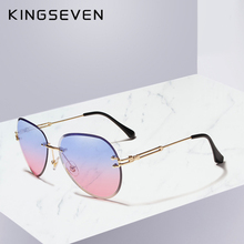 KINGSEVEN DESIGN Women Rimless Pilot Sunglasses Blue Gradien