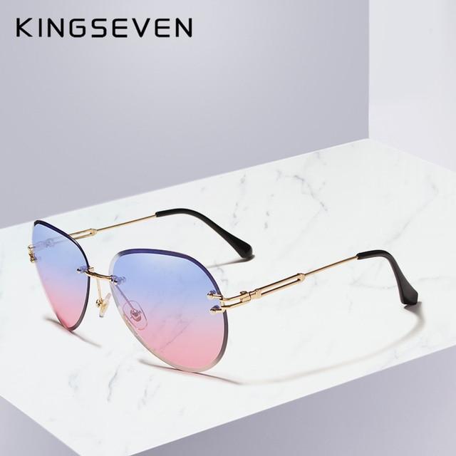 4c758bd5ca8a5 KINGSEVEN diseño mujeres sin montura piloto gafas de sol azul lente UV400  protección