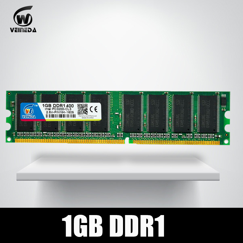 VEINEDA DDR1 2 gb 2X1 gb DDR 1 gb pc3200 ddr400 400 mhz 184Pin Desktop ddr di memoria CL3 DIMM RAM 2g