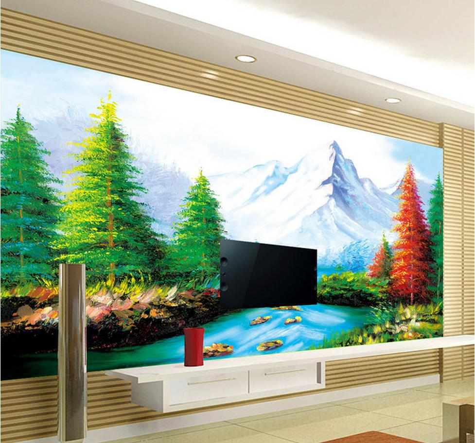 Custom wallpaper papel de parede hd 3d landscape painting for Papel de paisajes para paredes