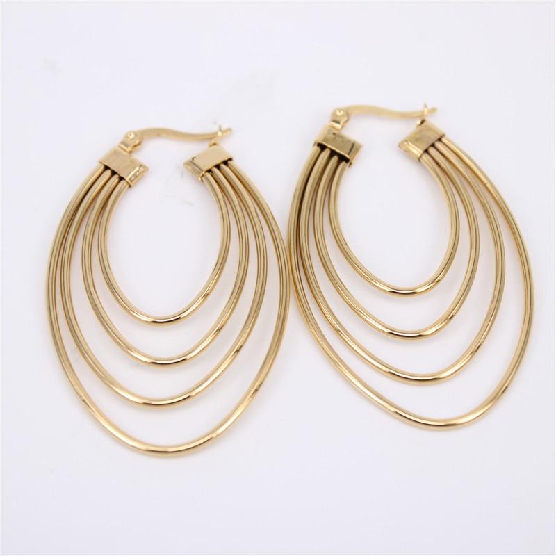 2 Size Gold Filled Chanderlier Hoop Earrings Gf New Fashion Womens Ladys Jewelry Gew08 Hoop Earrings