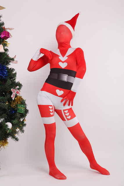 Us 41 27 10 Off Aliexpress Com Buy Phc018 Custom Made Christmas Gift Female Red Santa Claus Lycra Spandex Unisex Zentai Bodysuit Cosplay Costume
