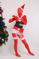 New Arrival Custom Made Christmas Gift Female Red Santa Claus Lycra Spandex Unisex Zentai Bodysuit Cosplay