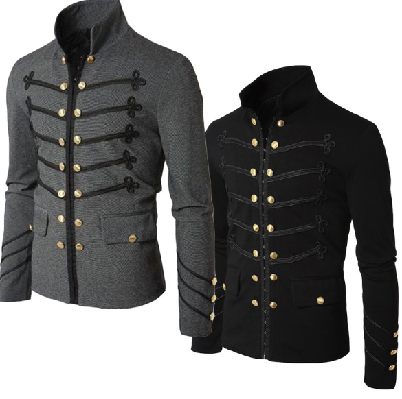 Casual Men Outerwear Plus Size Gothic Military Parade Jacket Tunic Winter Autumn Men'S Fashion Rock Black Steampunk Army Coat