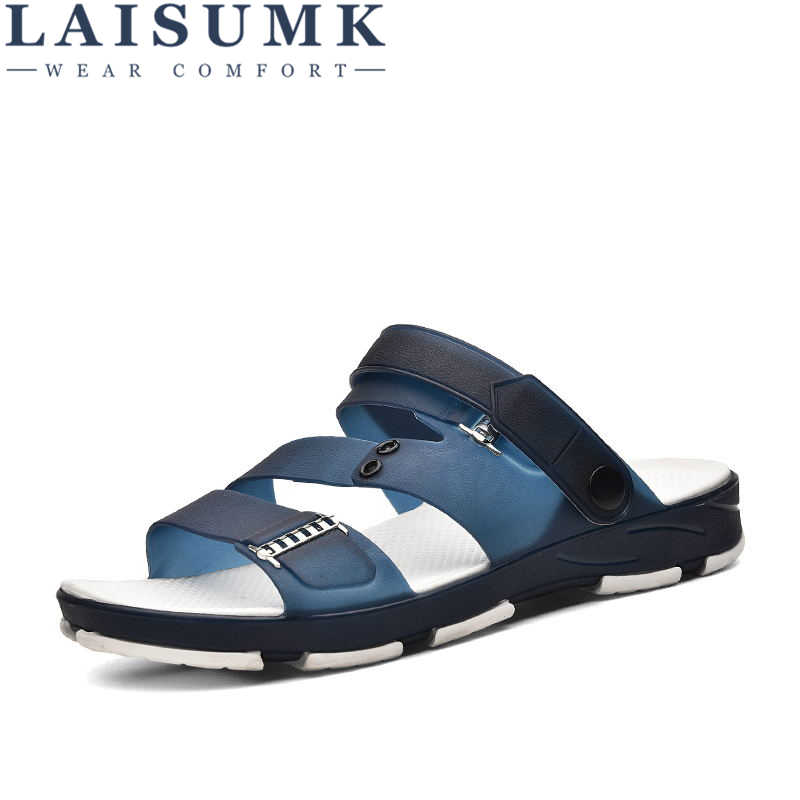 d9bac89ae30c LAISUMK New 2019 Summer Men Sandals Fashion Hollow Out Breathable Beach  Slippers Flip Flops Slippers male
