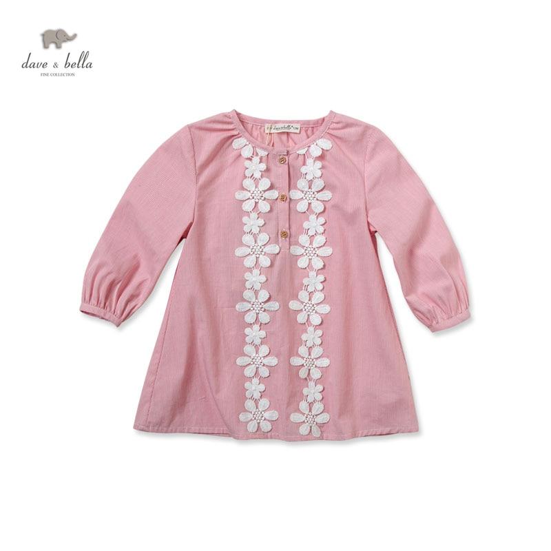 DB1692 dave bella summer baby dress infant clothes toddle 1 pc kid princess dress sweet three quarter sleeve dress
