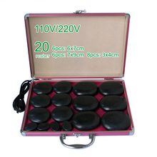 NEW wholesale & retail electrical heating 110/200V SPA hot energy stone 20pcs/set with heat box (model 6+6+8) massage stone box massageador beauty stone new wholesale electrical heating 220v spa hot energy stone 22pcs set with heat box