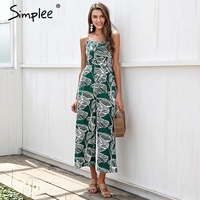 Simplee Strap Tropical Jumpsuit Romper Women Smocking Button Wide Leg Summer Jumpsuit 2018 Casual Print Overall