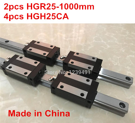 HG linear guide 2pcs HGR25 - 1000mm + 4pcs HGH25CA linear block carriage CNC parts hg linear guide 2pcs hgr25 250mm 4pcs hgh25ca linear block carriage cnc parts
