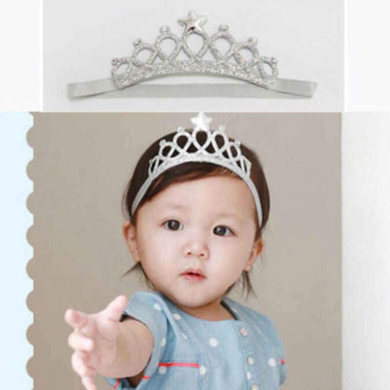 2019 mais novo quente bebê recém-nascido menina bandana aniversário lantejoulas ouro prata coroa princesa faixa de cabelo acessório