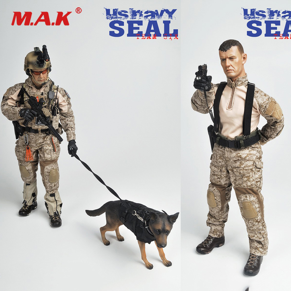 For Collection 1/6 Full Set Male Solider Action Figure US.NAVY SEAL Team Six Model with Double Weapon & Wolf dog for Fans GiftsFor Collection 1/6 Full Set Male Solider Action Figure US.NAVY SEAL Team Six Model with Double Weapon & Wolf dog for Fans Gifts