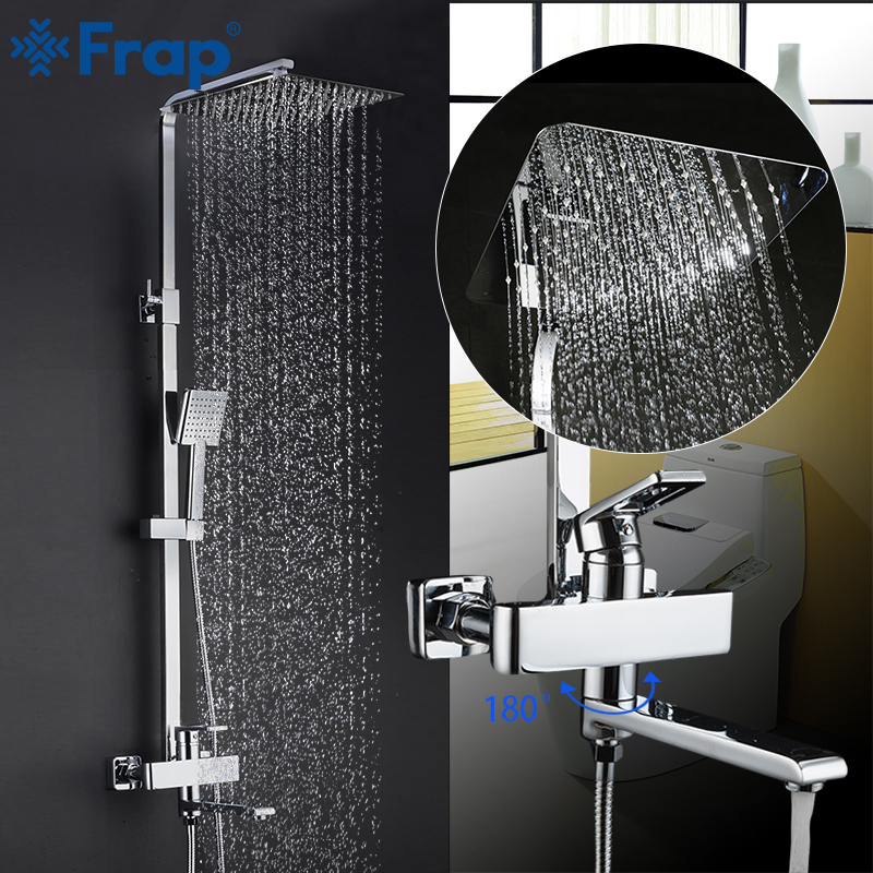 FRAP Shower System New Arrival bath shower mixer bathroom shower faucet tap with rain shower panel set waterfall faucet tapware