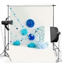 Flor De Papel azul primeiro Primeiro Aniversário da foto fundo do estúdio Vinil pano de Alta qualidade de Impressão Computador backdrops partido