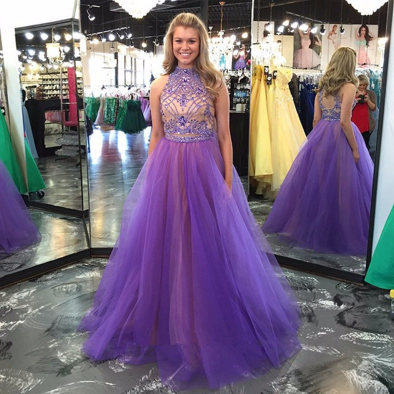 Two Piece A-Line Light Purple Long Prom Dresses 2016 High Neck Off the Shoulder Tulle Crystal Beading Design Sweep Train Gowns
