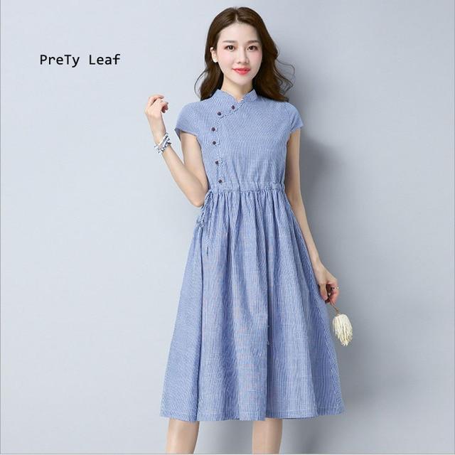 56a6e4942724 O novo tamanho grande das mulheres listrado de algodão e linho vestido  temperamento