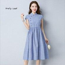 Новые Большие размеры Женская в полоску из хлопка и льна темперамент платье