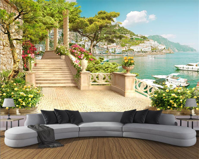 Custom 3d Mural Wallpapers Hd Landscape Mountains Lake: Custom Wallpaper Garden Balcony Stairway Lake View 3d