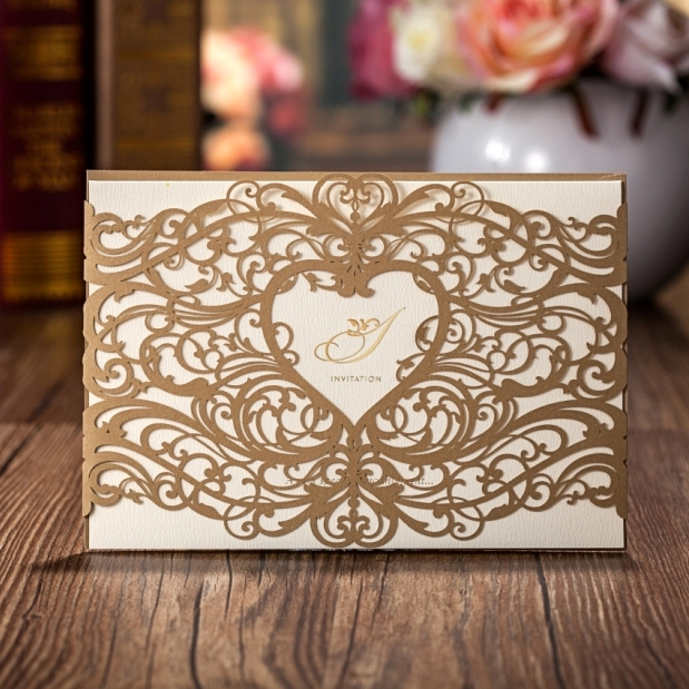 Peacock Feather Two Fold Laser Cut Wedding Invitation Printable