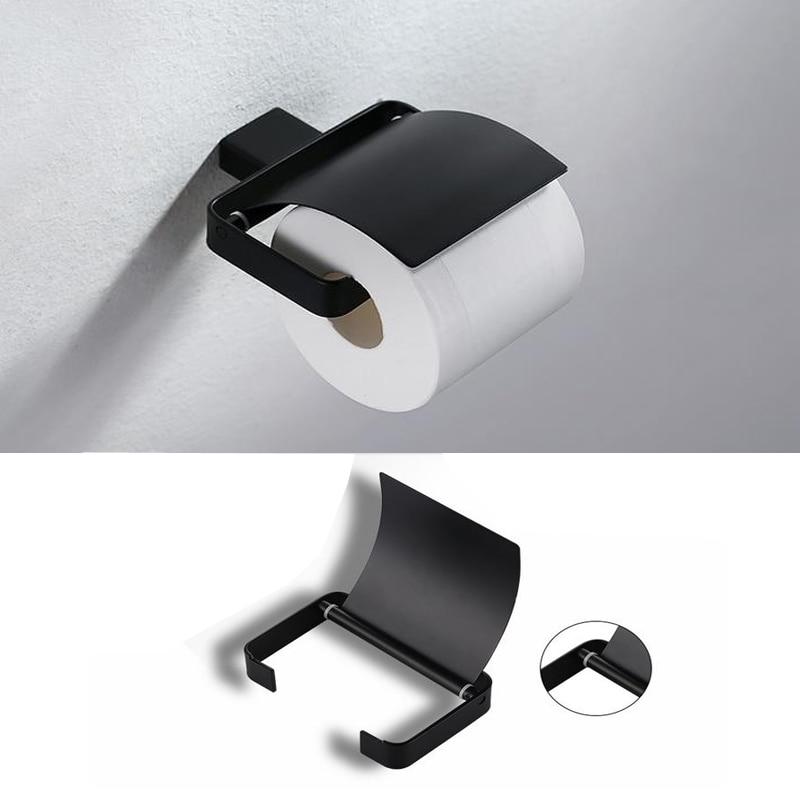 ФОТО Wall Mounted Matt Black  Stainless steel Cover Toilet Paper Towel Holder Bathroom Fixture
