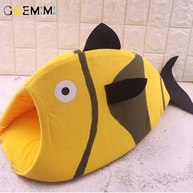 Brand New Cat Cave Fish Shape Lovely Puppy Pet Kennel Winter Warm Bed For Dog Cats cama para gato pet bed for cats