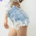 Lace Shorts Women Hot Short 2016 Fashion Ripped Jeans Womens Lace Crochet Denim Shorts Women Plus Size Sexy Lady Jeans Trousers