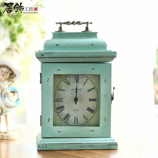 Charmant European Style Wooden Antique White Classic Table Clock Antique Style Blue  Teal Color Wood Crafts