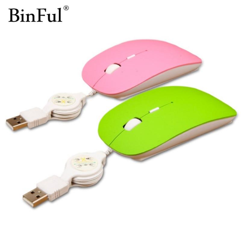 Binful проводной Mute оптическая USB прокрутки Мышь выдвижной кабель Мыши компьютерные переносной для путешествий портативных ПК компьютер Тетрадь