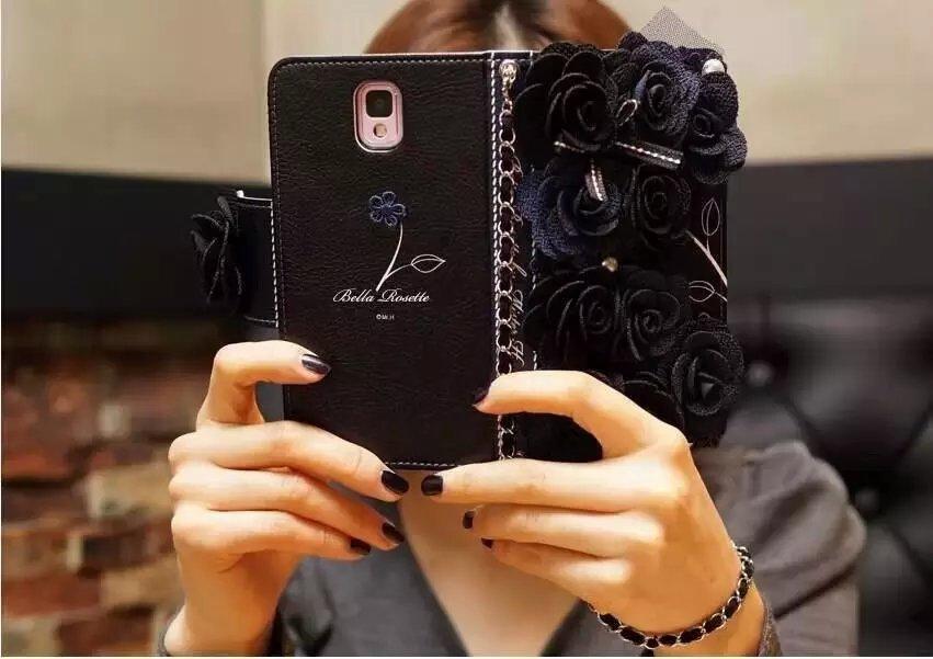 imágenes para Dote Me Top Rosa Negro de Tela Roseta de Flores Tirón de la Carpeta Funda de piel Para iPhone 7 6 S Plus 5S Samsung Nota 5 4 3 S7/6 Borde S5/4