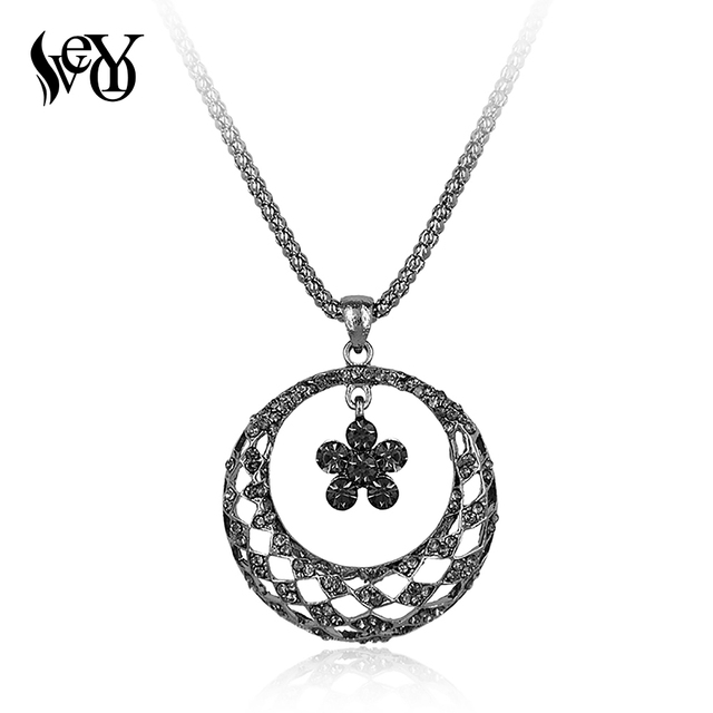 Aliexpress buy veyo trendy necklace pendants for woman veyo trendy necklace pendants for woman rhinestone paved round drop necklaces long chain fashion necklaces aloadofball Image collections