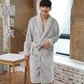 Gris alta calidad batas otoño invierno los amantes trajes de franela ropa de dormir albornoz calientes moda albornoz coral túnica de lana