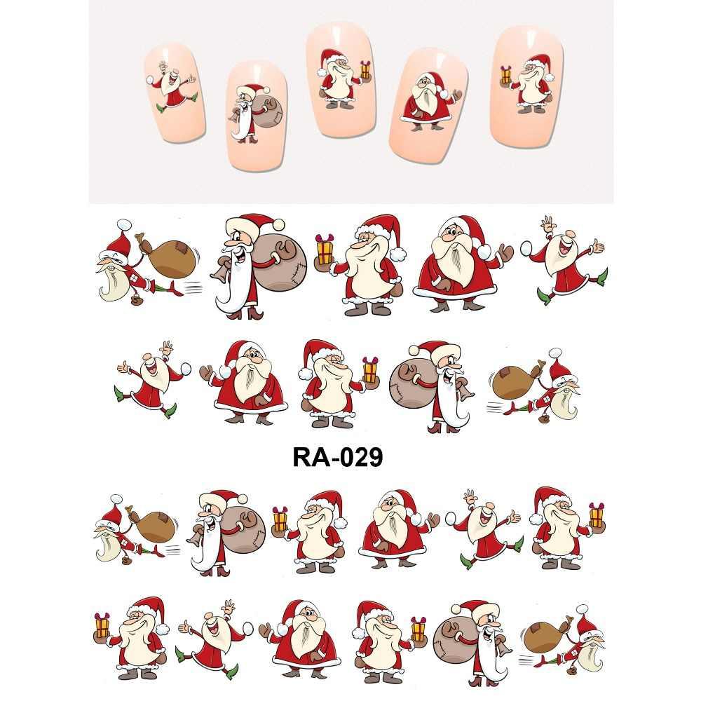 Upretego arte do prego beleza água decalque slider etiqueta do prego natal árvores enfermeira santa cláusula bebê crianças RA025-030