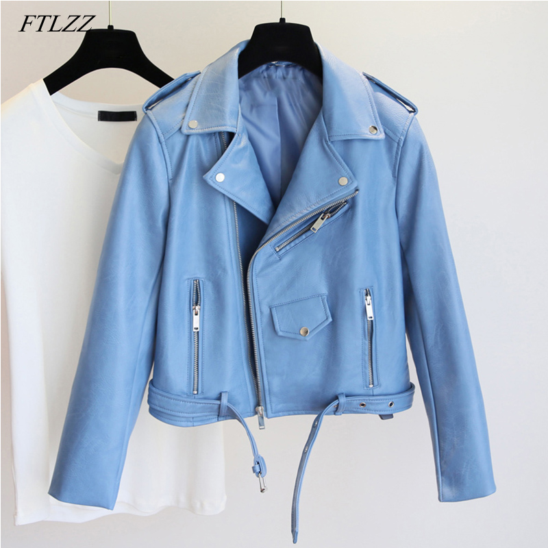 FTLZZ Fashion Pu Leather Jacket Women Bright Color Black Motorcycle Coats Short Faux Leather Biker Jackets Soft Coat Female