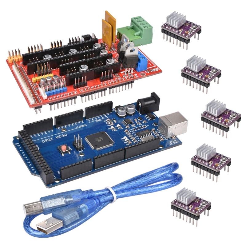 3D impresora 1 unid mega 2560 R3 + 1 unid ramps 1.4 panel de control 5 unids DRV8825 Motores paso a paso Drive portador para 3D Kit de impresora