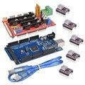 3d принтер 1 шт. МЕГА 2560 R3 + 1 шт. пандусы 1,4 панель управления + 5 шт. DRV8825 шаговый двигатель привод Перевозчик Reprap для 3d принтера комплект