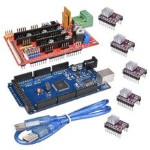 Impressora 3d 1pc mega 2560 r3 + 1 pça rampas 1.4 painel de controle + 5 pces drv8825 stepper motor drive carrier reprap para kit impressora 3d