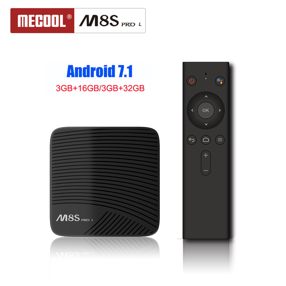 MECOOL M8S PRO L Smart Android 7.1 Youtube TV Box S912 Octa-core 3 gb 32 gb 2,4g & 5g WiFi BT4.1 H.265 HDR Media Player Voice Remote