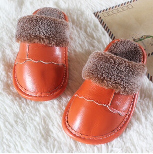201510 children slippers  shoes,boys shoes,girls shoes,Candy-colored warm leather shoes,1-7y