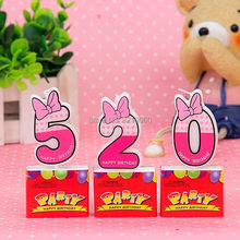 Number 0-9 Mickey Minnie Mouse Candle For Kids Birthday Party Decoration Supplies Creative romantic Cake Cupcake Topper Decor(China)