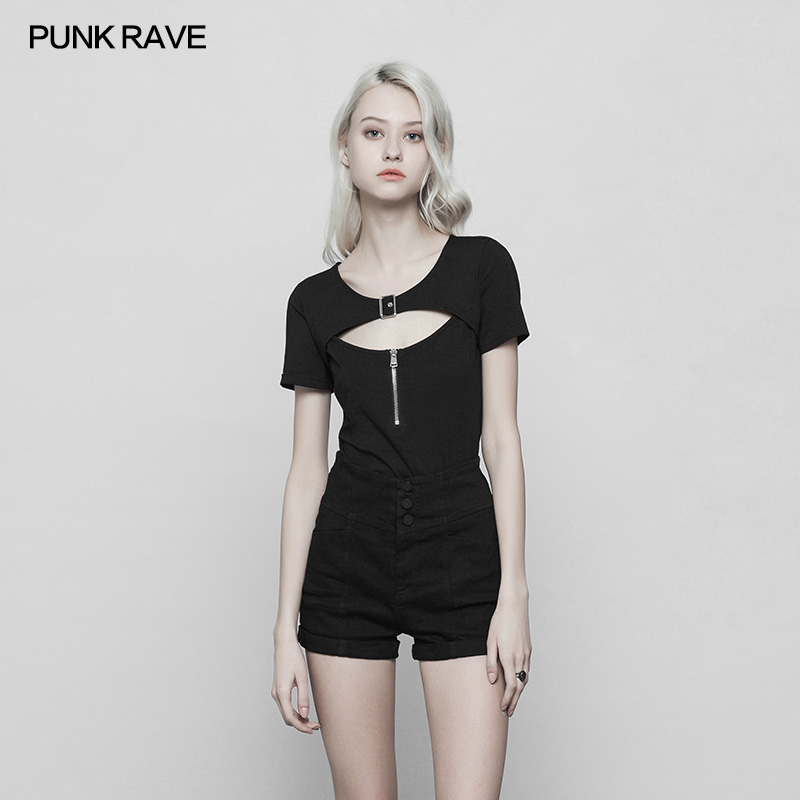 T-shirts Tops & Tees Punk Rave Black Gothic Fashion Sexy Cotton Hollow Out Zipper Casual Women T-shirt Tops Opt250 Relieving Heat And Sunstroke