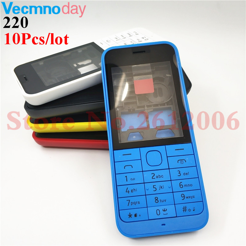 10Pcs New High Quality Front Middle Frame Back cover Battery Cover For Nokia 220 Full Housing Cover Case +English Keypad+Logo10Pcs New High Quality Front Middle Frame Back cover Battery Cover For Nokia 220 Full Housing Cover Case +English Keypad+Logo