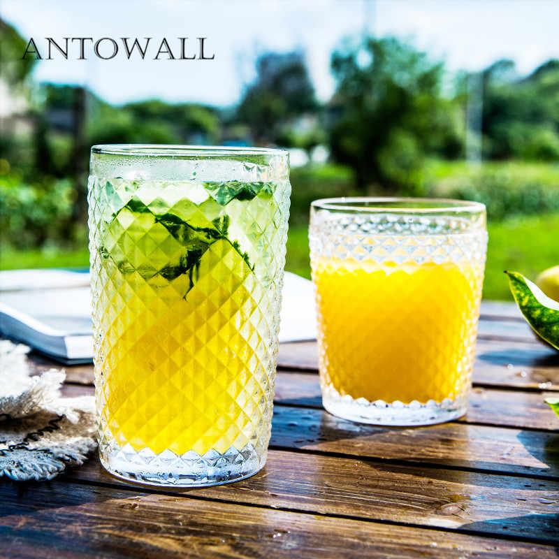 ANTOWALL Европейское стекло тисненый ананас шаблон чашки утолщенный термостойкий сок стакан для молочного коктейля Свадебная вечеринка пивное стекло
