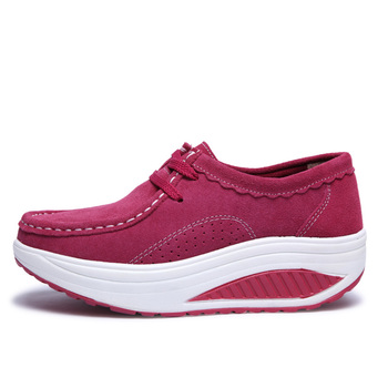 2017 Spring Casual Shoes Women Platform Body Shaping Shoes Fitness Shoes Fashion Genuine Leather Slimming Swing Shoes For Female 2