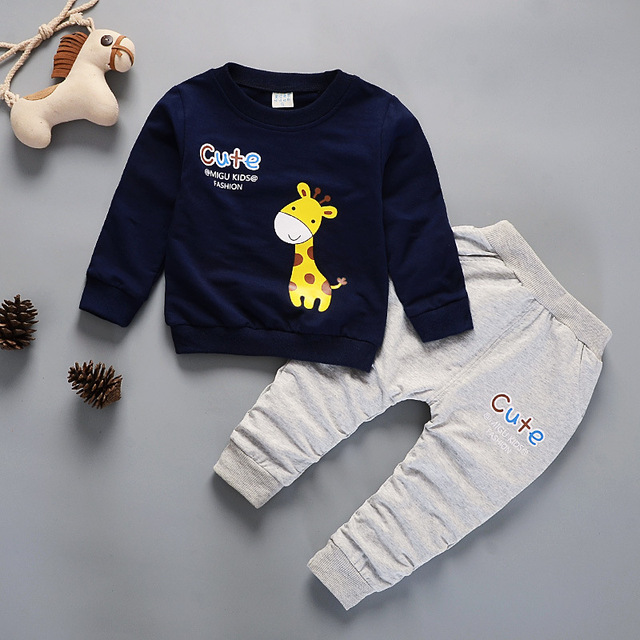407ff3f11 1-4 Years Old Kids Winter Clothes Cute Giraffe Printed Boys T-shirt Set  Warm Children's Clothing Girl Winter Clothes For Kids
