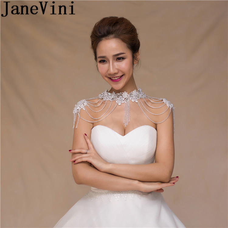 JaneVini 2018 élégant dentelle épaule chaîne perlée cristal collier de mariée à la main femmes perle robe épaule chaînes accessoires