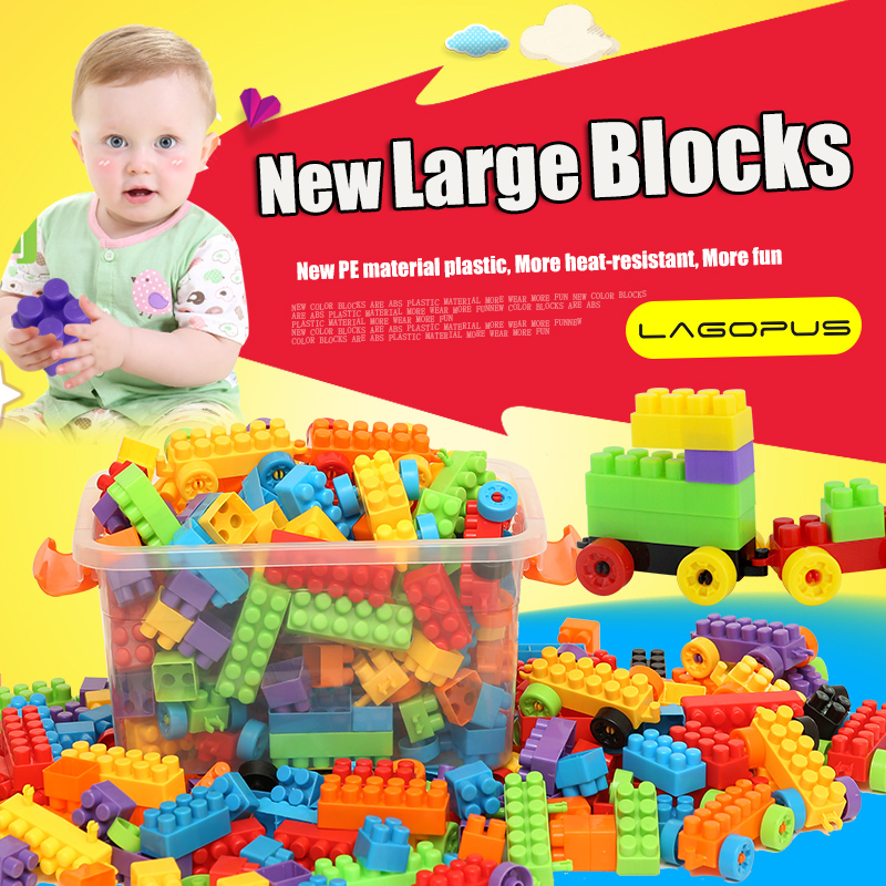 200/400PCS Large Size Plastic Blocks Educational Toys Mom Rest Assured Safe PE Plastic Creative Toy for Kids Best Gift