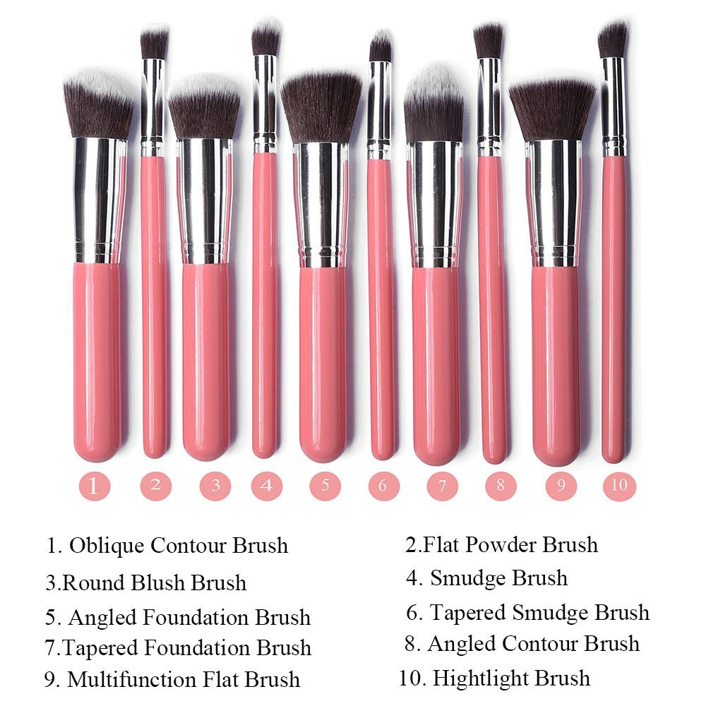 Professional Makeup Brush Set 10pcs Eyebrow Shadow Cosmetic Brush Tool Kit (10pcs Pink+silver) delicate cosmetic brush 10pcs