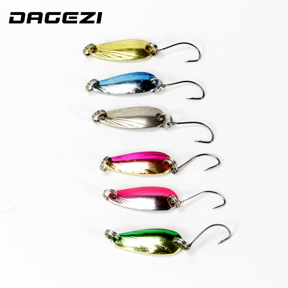 DAGEZI 6pcs/lot 4.5cm/3g fishing lure 6 colors Shell Texture metal Lure fishing bait spoon lures fishing tackle pesca 5pcs lot 7g 100g metal lure fishing spoon freshwater fishing hard lure slice jig pesca bait fishing tackle metal jigging lures