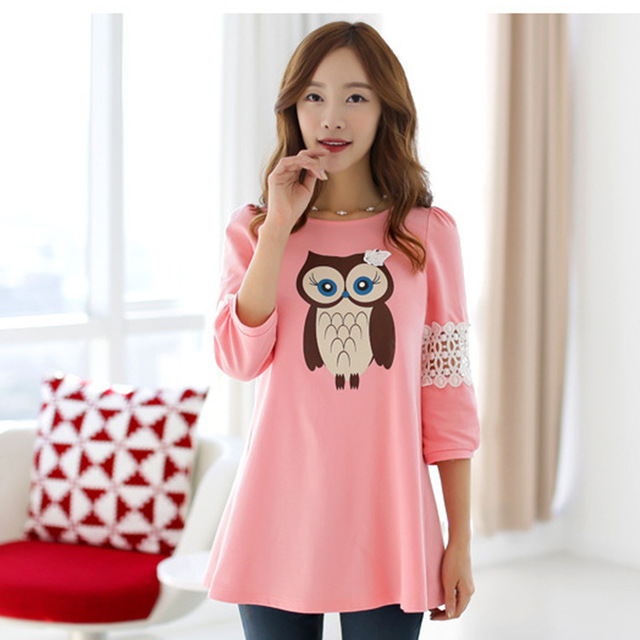 Fashion Korean Spring Autumn t shirt Clothes For Pregnant Women cartoon owl printed Clothing Maternity lace hollow out Dresses