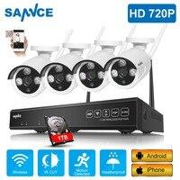 SANNCE 4CH HD 720 P беспроводная домашняя система безопасности 1080 P HDMI NVR с 4 шт. 720 P наружная непогоды WiFi IP камеры Набор для видеонаблюдения